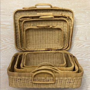 Bundle of 4 Stacked Nested Basket Suitcases